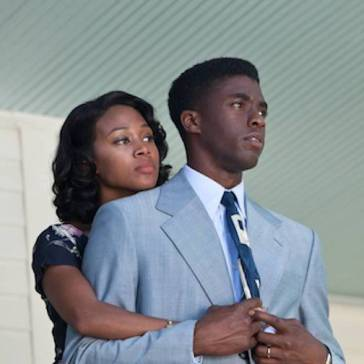 Nicole Beharie and Chadwick Boseman playing Rachel and Jackie Robinson in 42.